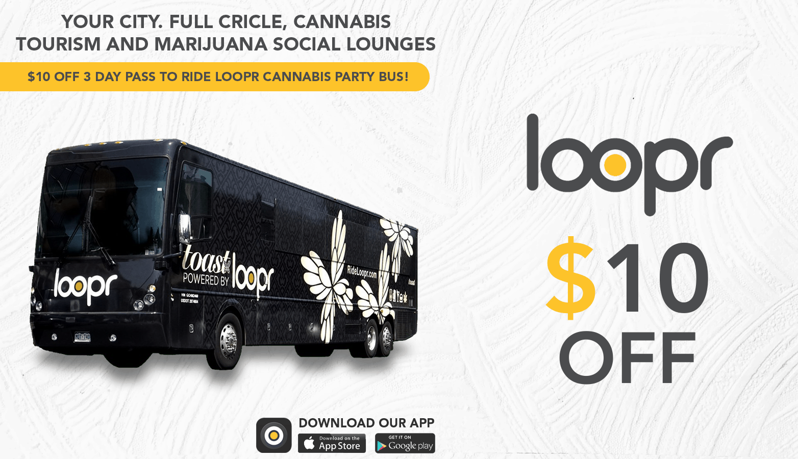 Loopr Cannabis Denver Party Bus Exterior - Save On Cannabis online Website.