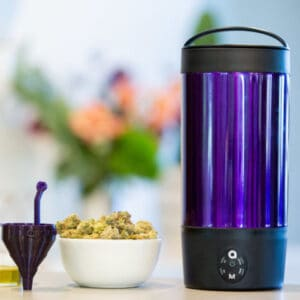 Ardent FX decarboxylator and cup of cannabis flower