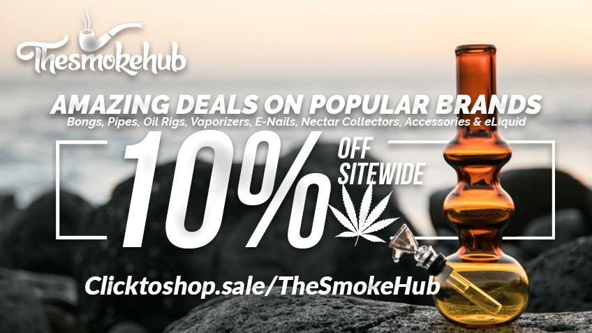 The Smoke Hub cannabis coupon code graphic for their marijuana online head shop.