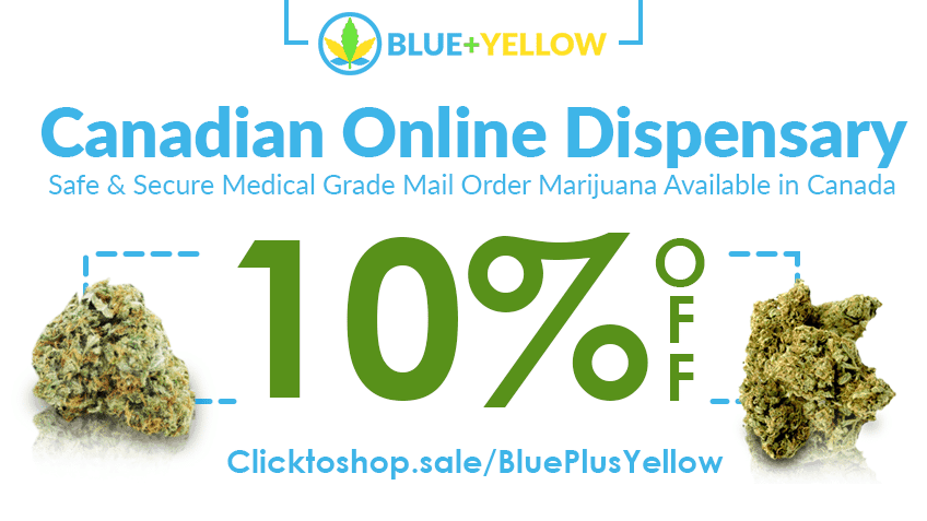 Blue+Yellow coupon code cannabis online graphic for marijuana.