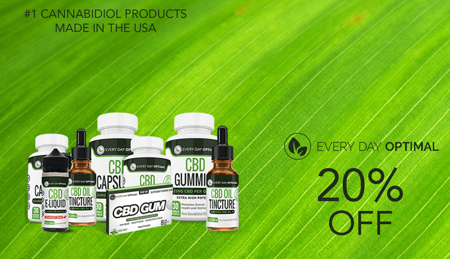 Everyday Optimal CBD Coupon Code Twenty Percent Off Website