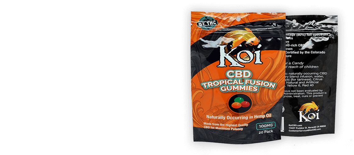 packet of Direct CBD Online tropical fusion gummies