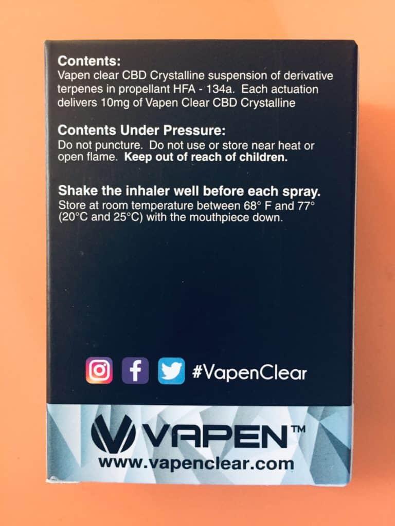 Vapen CBD Review - Inhaler - Save On Cannabis - Ingredients
