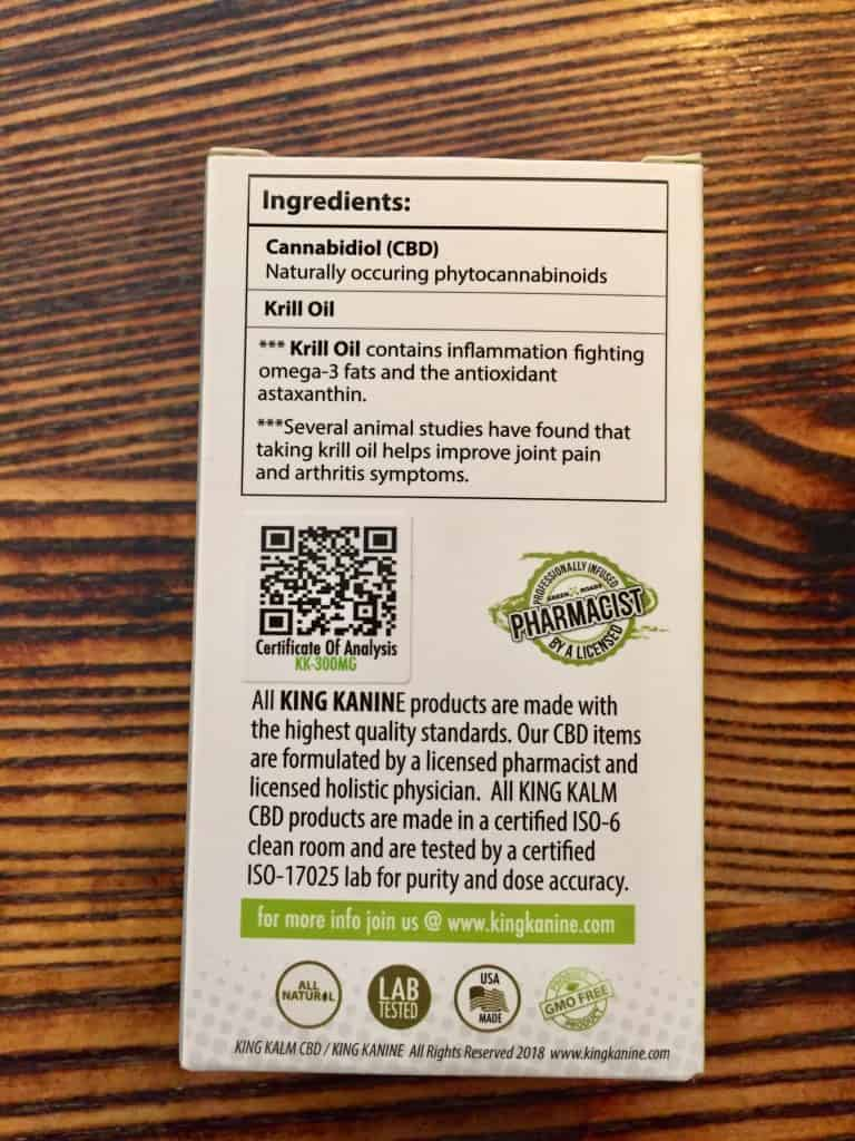king kanine king kalm SAVE ON CANNABIS oil for pets specifications