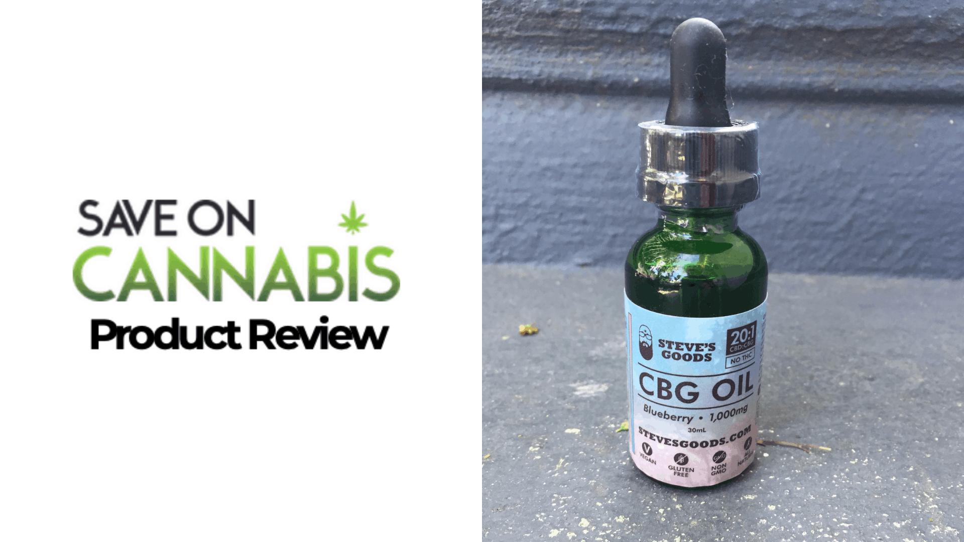Steve's Goods CBD Review - CBD / CBG Oil 100mg - Save On Cannabis