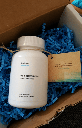 Holiday CBD gummies packaging