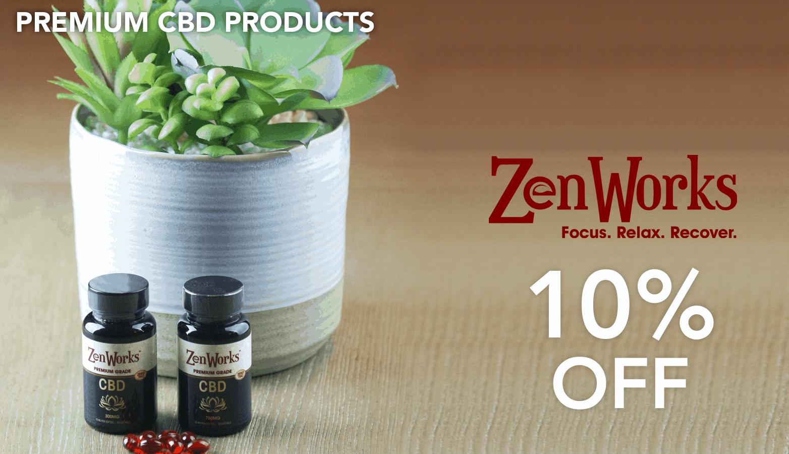 ZenWorks CBD Coupon Code discounts promos save on cannabis online Website