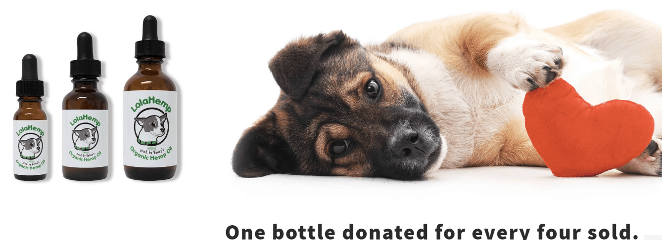 LolaHemp CBD donates one bottle for every four sold, dog.