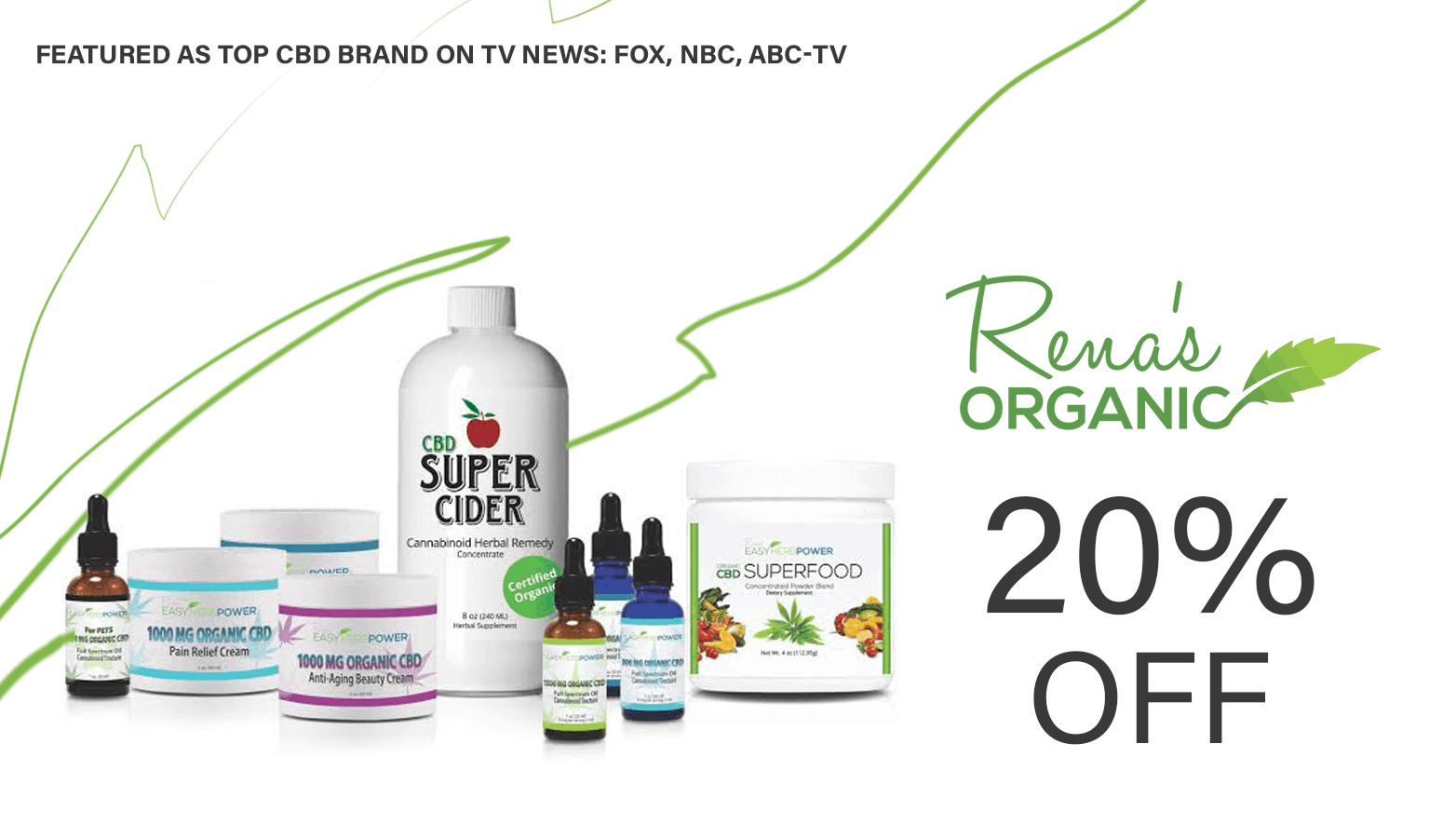 Renas Organic 20 percent off coupon - save on cannabis