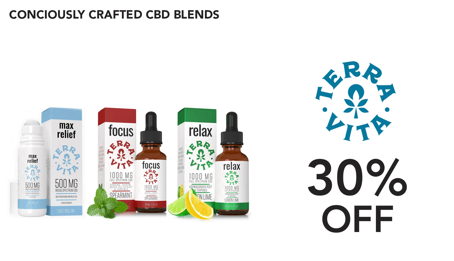TerraVita CBD Discount Coupon Code Relax Relief Focus