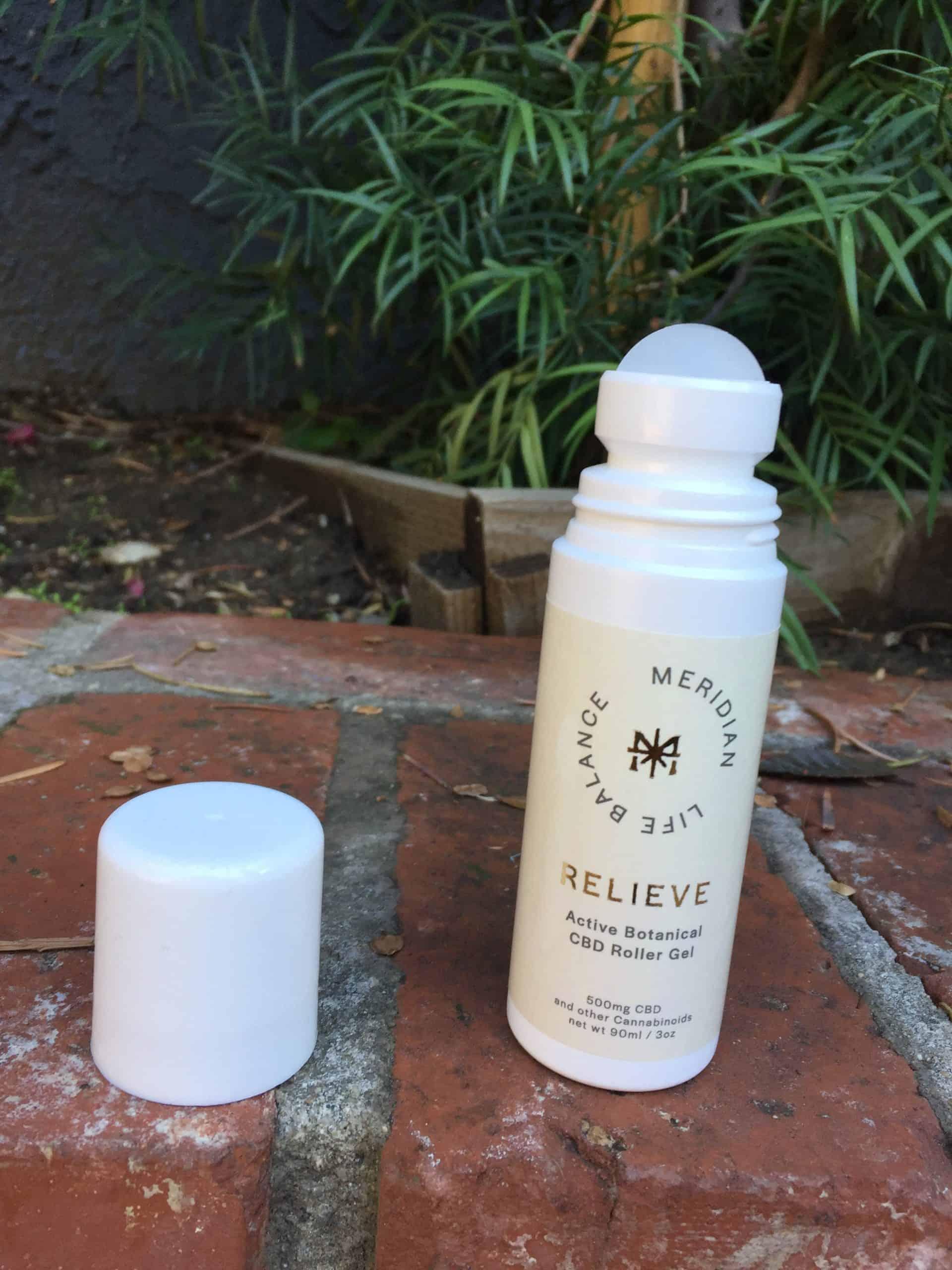 meridian life balance active botanical cbd roller gel save on cannabis beauty shot