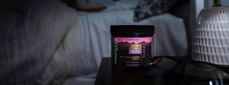 Charlotte's Web raspberry sleep CBD jar with discount coupon code