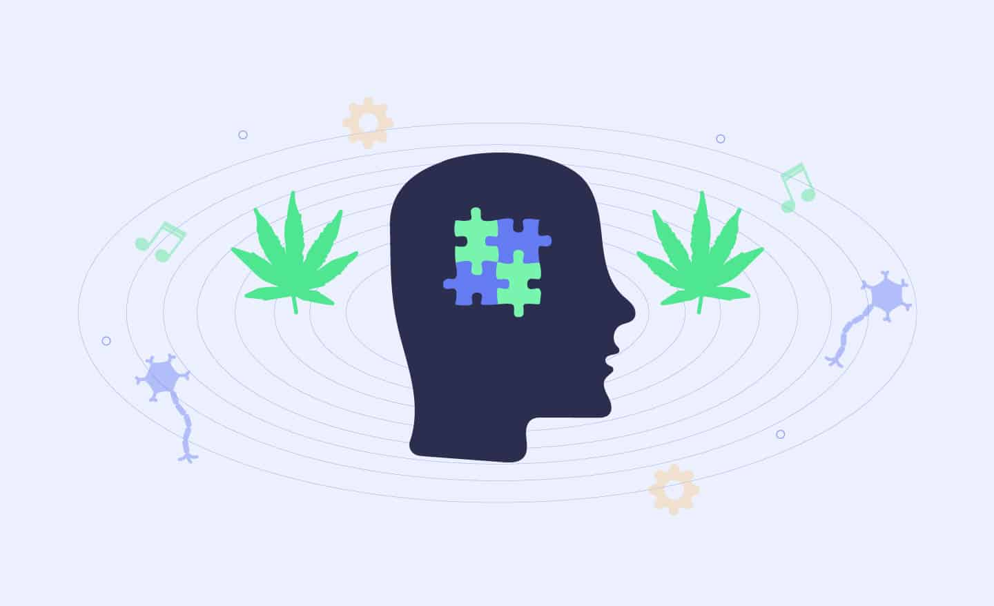 head with autism symbol and marijuana leaves