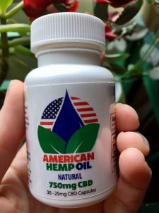 bottle of American Hemp Oil CBD Oil Gel Caps