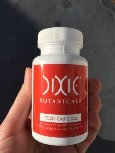 bottle of Dixie Botanicals CBD Gel Caps