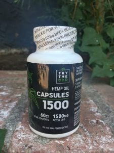bottle of TrytheCBD Hemp Oil Capsules