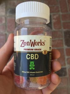 bottle of ZenWorks CBD Gummies