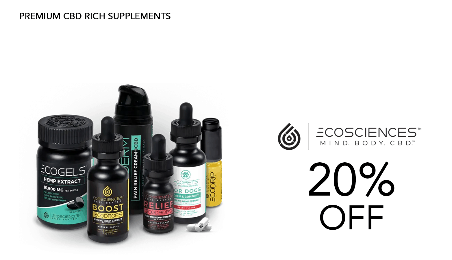 EcoSciences CBD Coupon Code Discount Website