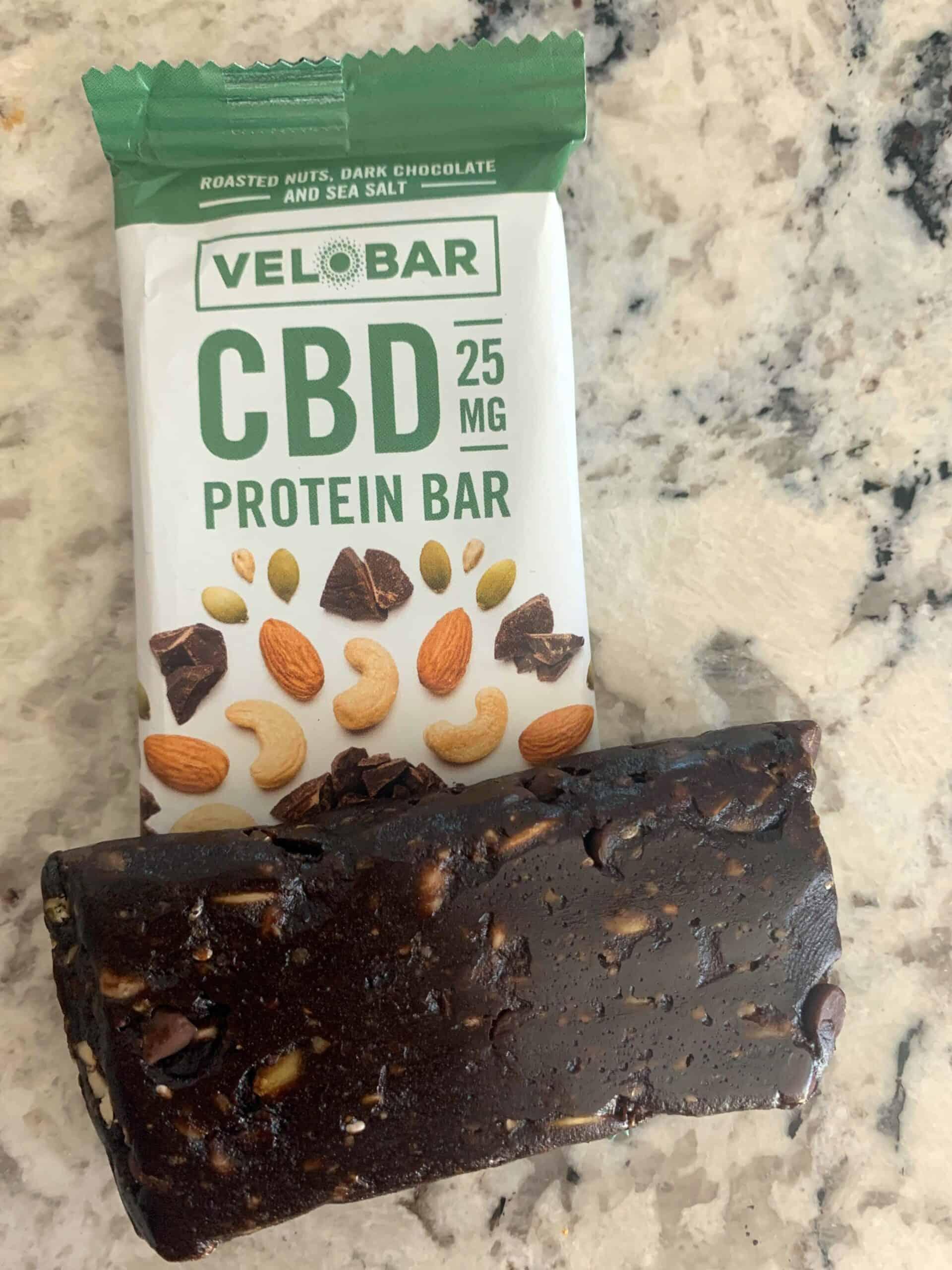 Velobar dark chocolate CBD protein bar 25mg review save on cannabis testing process