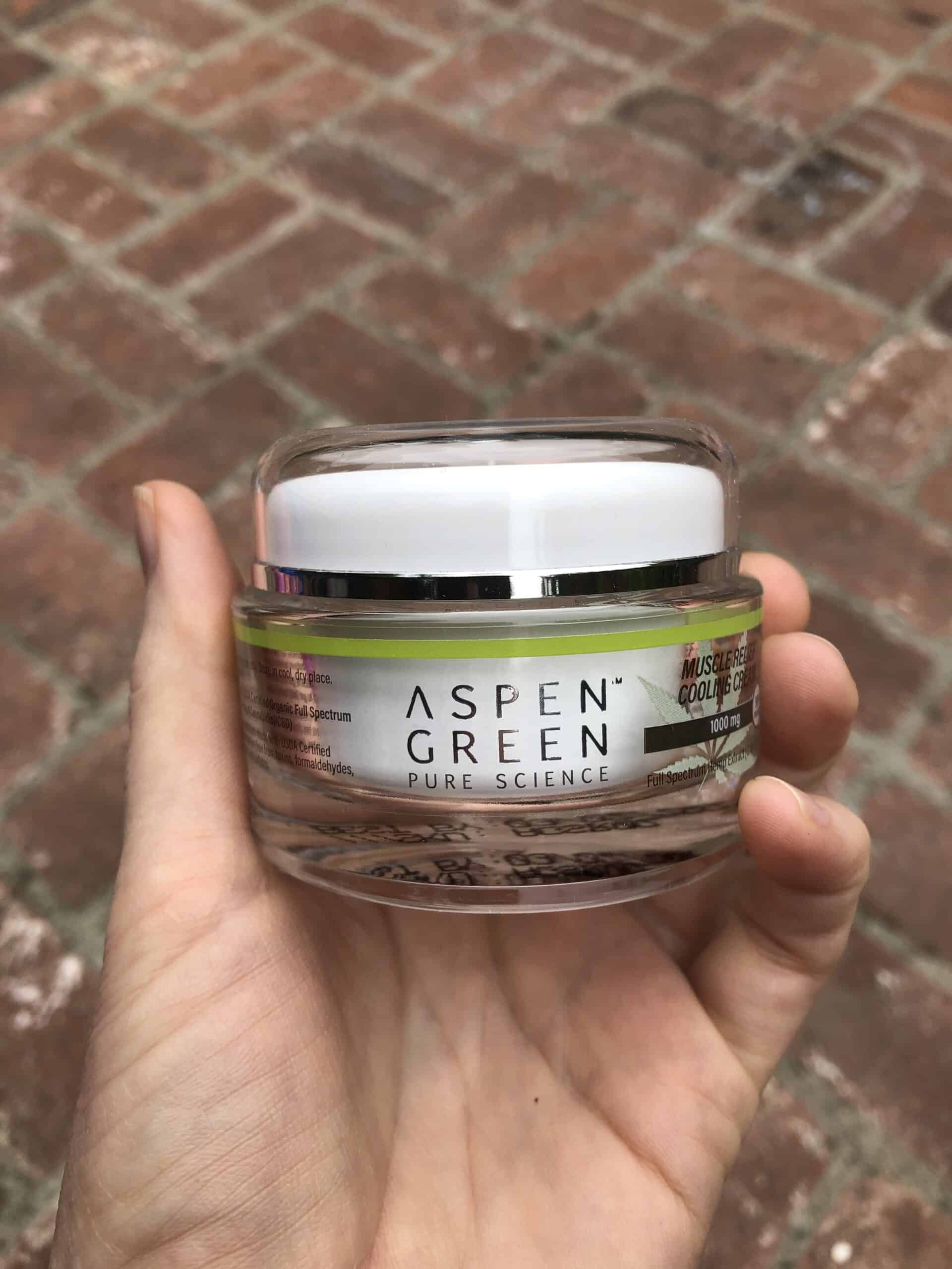 aspen green muscle relief cooling cream save on cannabis beauty shot