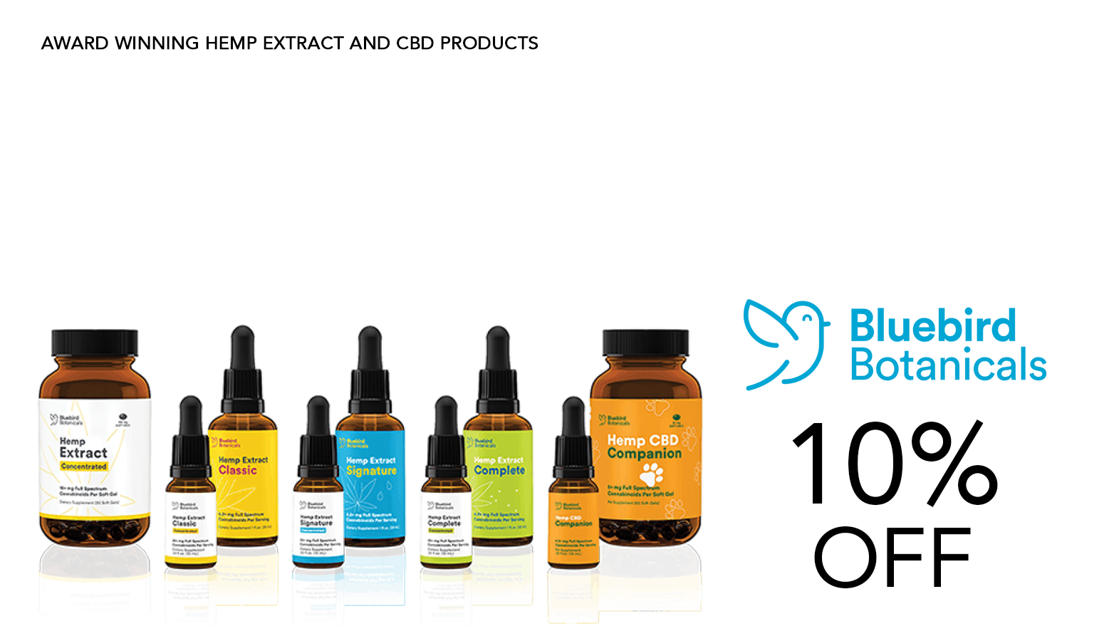 Bluebird Botanicals CBD Coupon Code 10 Percent Off Discount