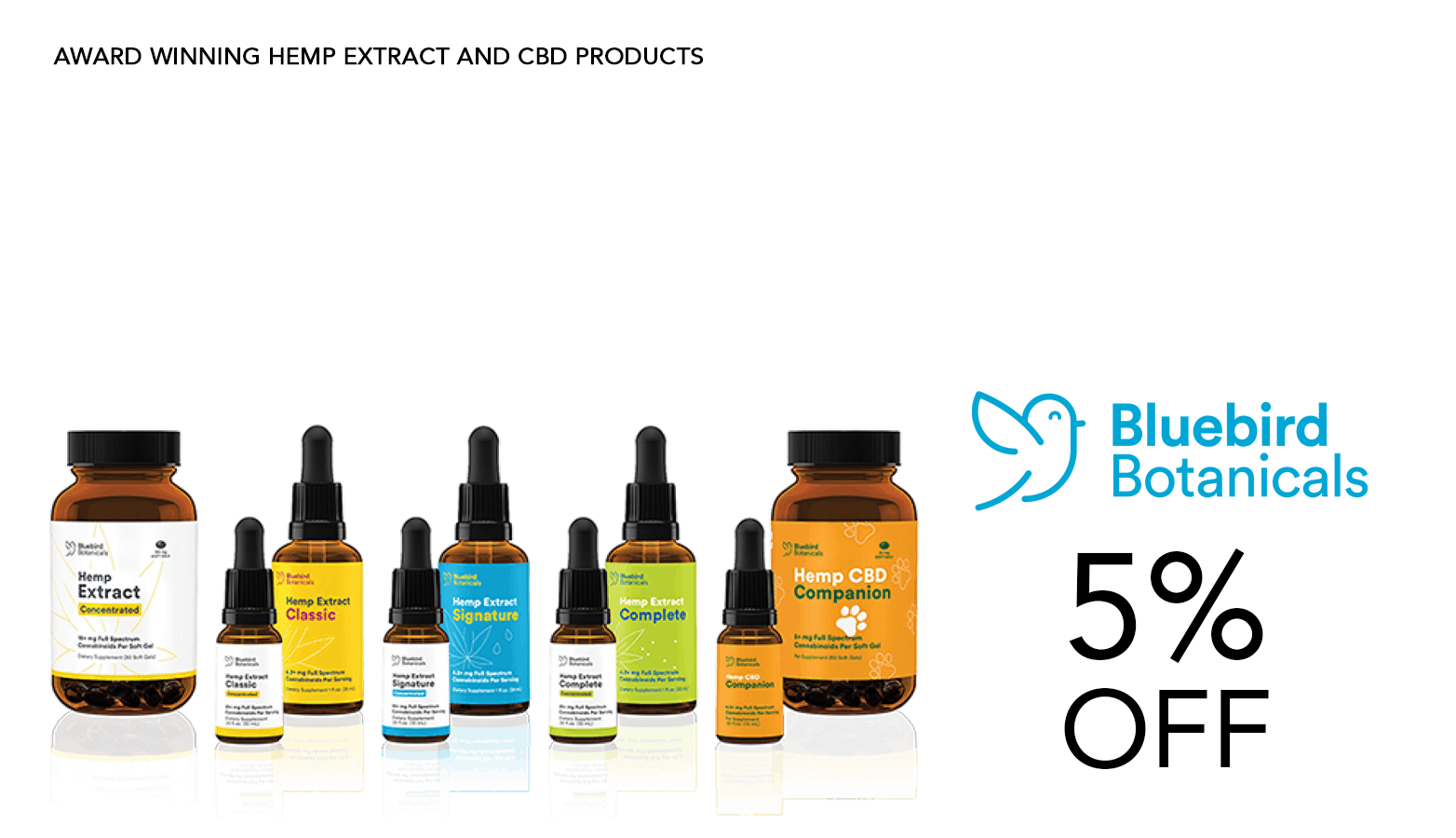 Bluebird Botanicals CBD Coupon Code 5 Percent Off Discount