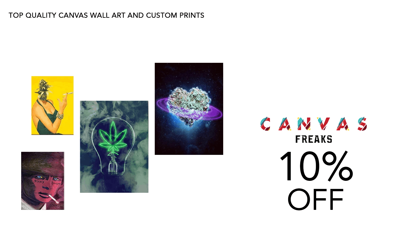 Canvas Freaks Cannabis Art Coupon Code Offer Promo