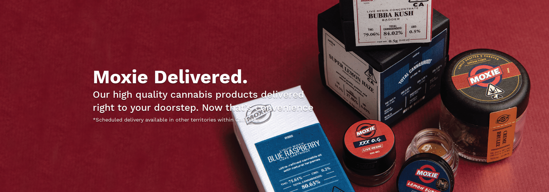 Moxie Cannabis Delivery CBD THC Coupons Hight Quality Products