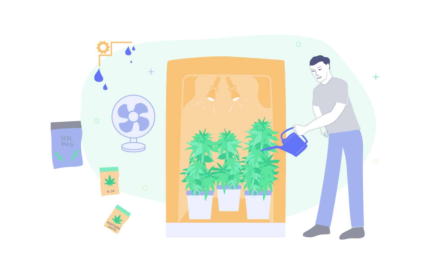 man growing weed indoors and his equipment around him