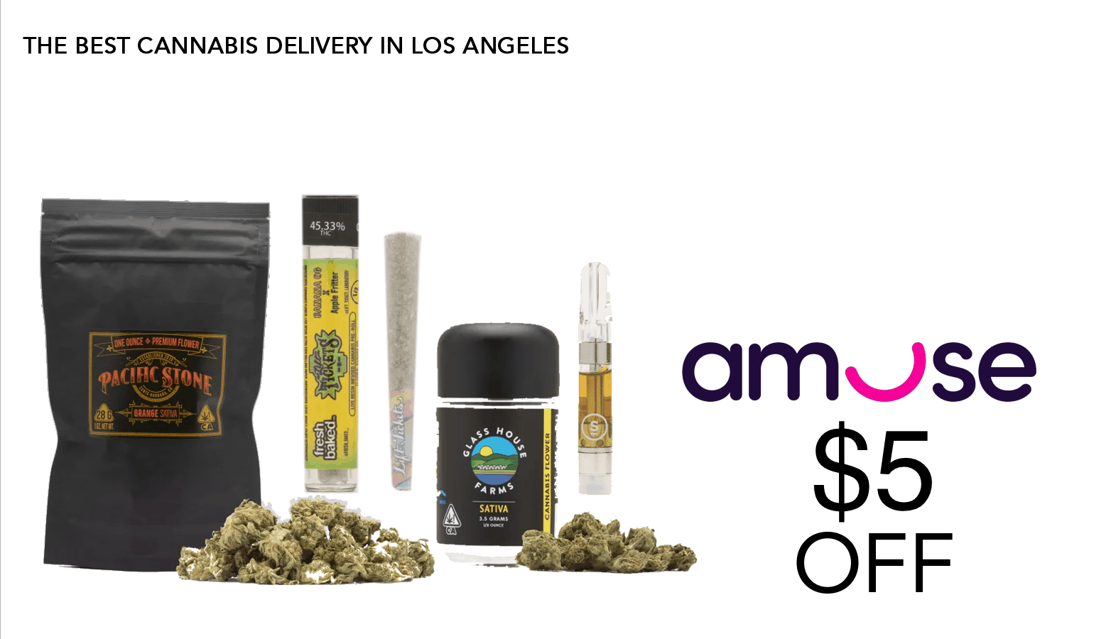 Amuse - $5 off - cannabis delivery california