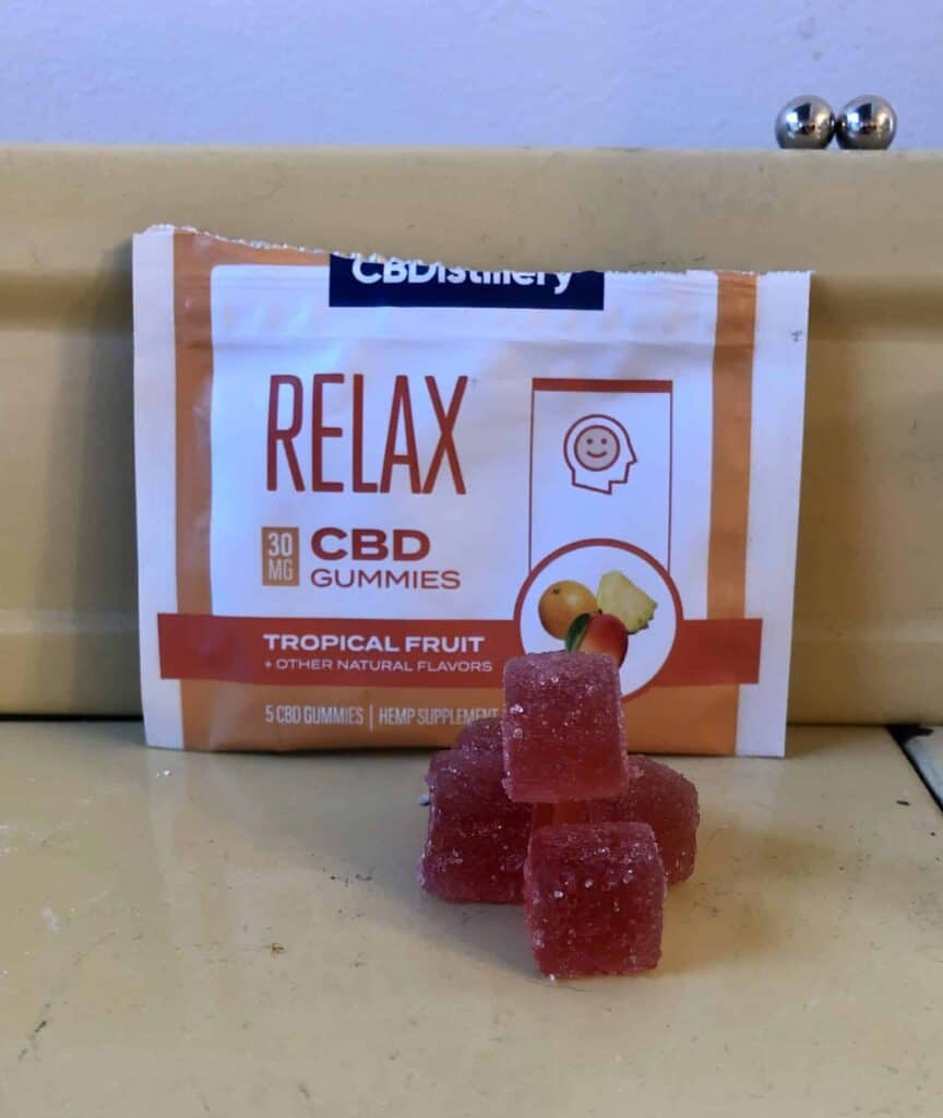 CBDistillery Relax Gummies Tropical Fruit Save On Cannabis Review Beauty Shot
