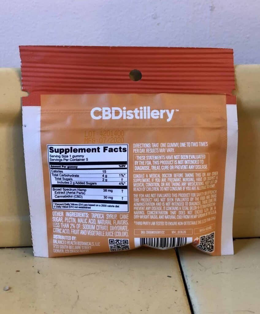 CBDistillery Relax Gummies Tropical Fruit Save On Cannabis Review Specifications