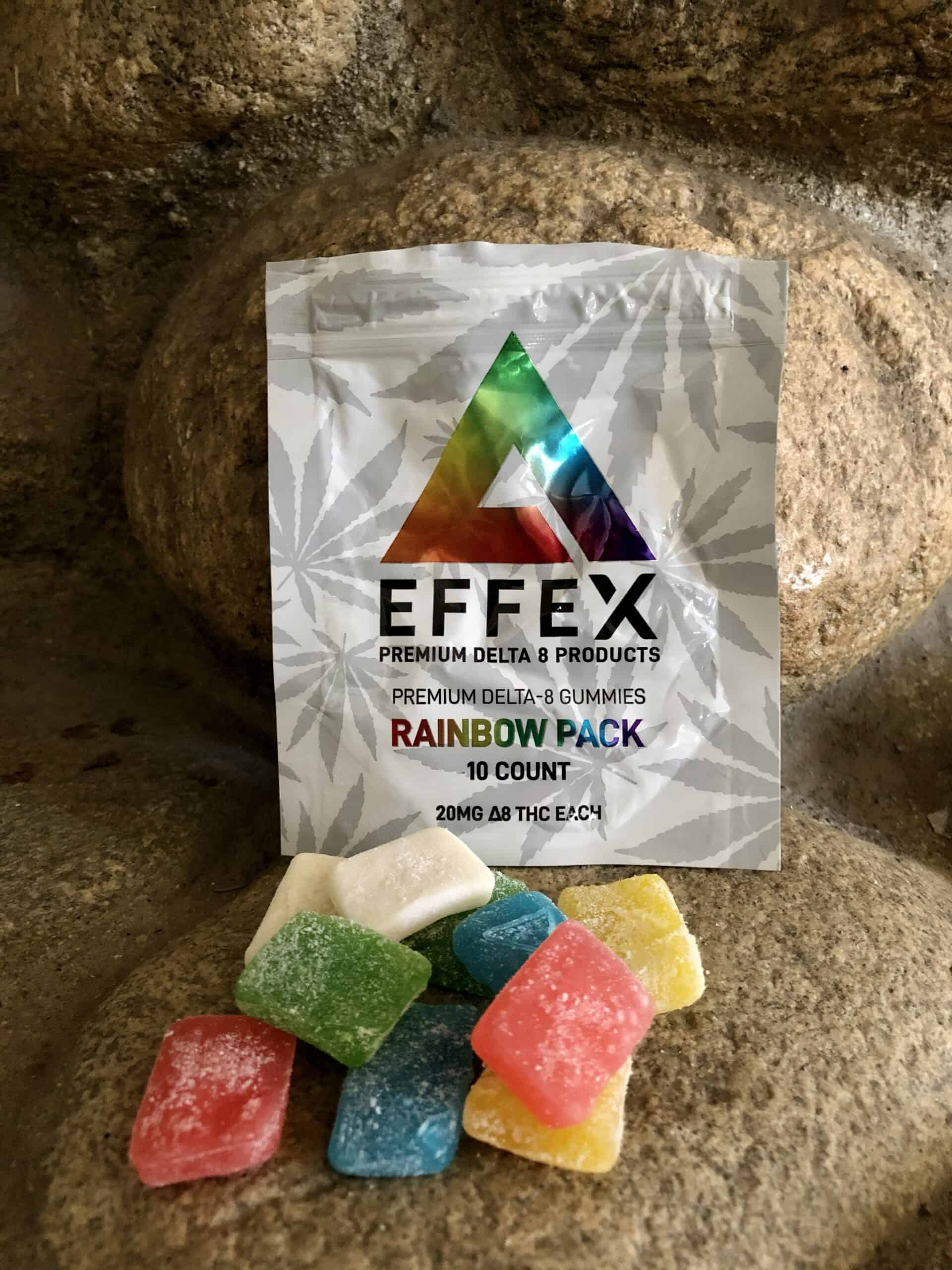 Delta Effex Rainbow Pack Premium Delta 8 THC Gummies Save On Cannabis Review Beauty Shot