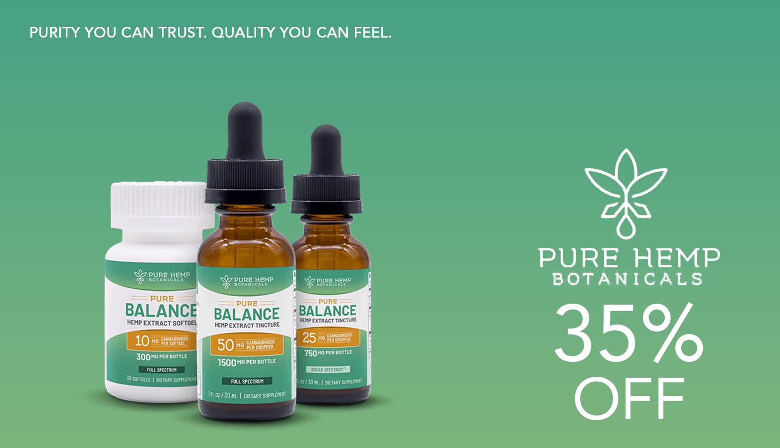 Pure Hemp Botanicals CBD Coupon Code 35 Percent Offer Website