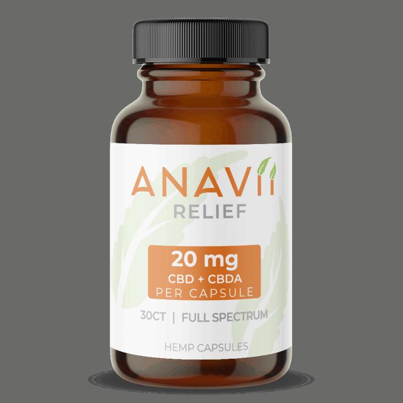 Anavii Market CBD Coupon  Anavii Relief Capsules 20 mg of Full Spectrum CBD