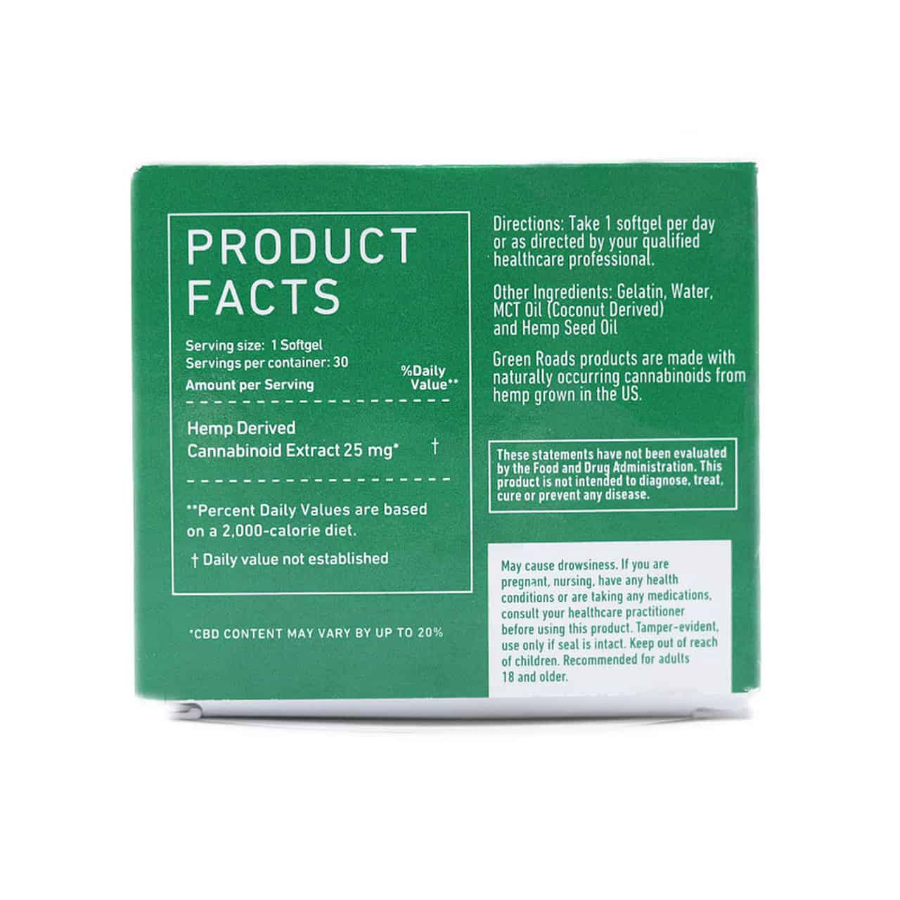 Green Roads CBD capsules - Product Facts